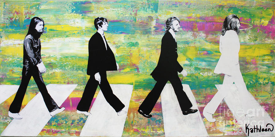 The Beatles Group On Abbey Road Mixed Media