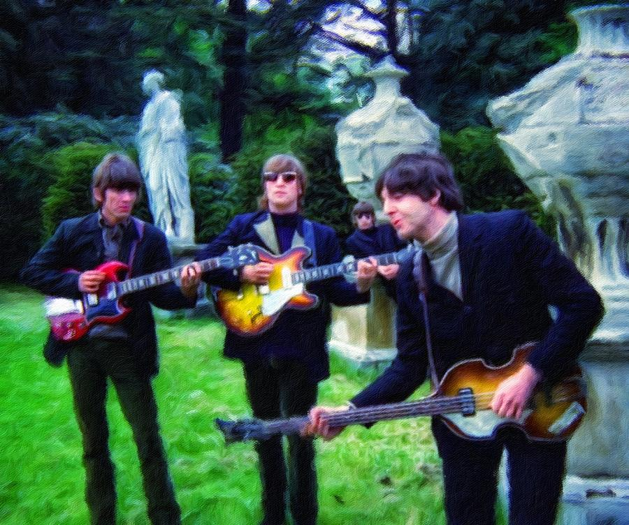 The Beatles Painting - The Beatles by Vincent Monozlay