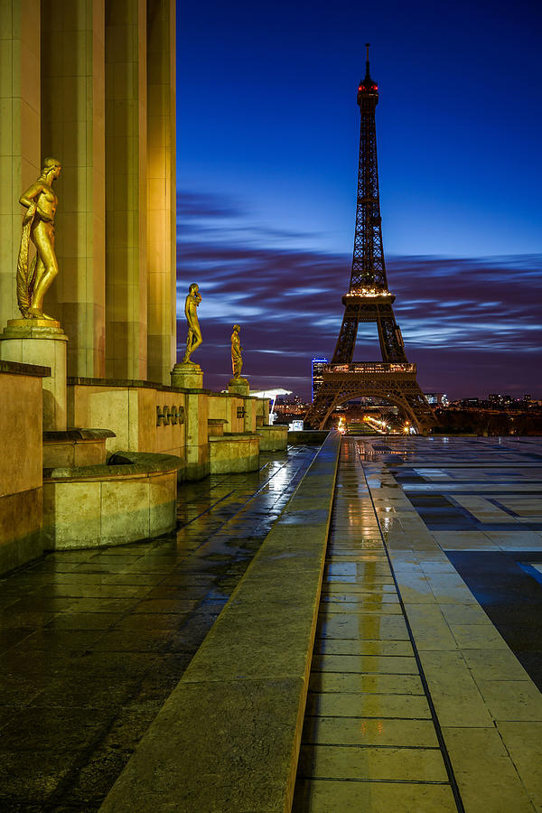 The Beautiful Statues Of Paris And Eiffel Tower In France, Seen From Trocadero On A Lonely Night. Photograph