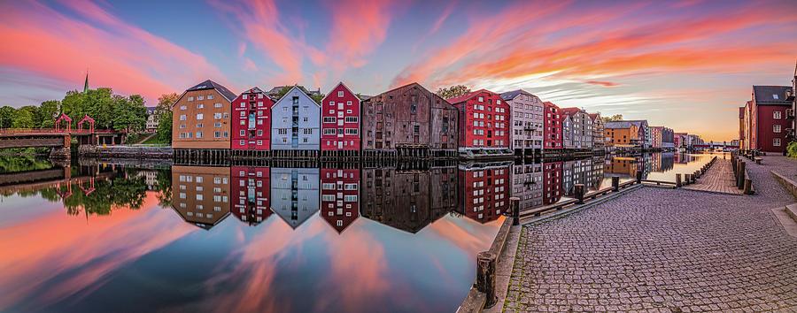 The Beautiful Trondheim Panorama From Nidarosdomen to Bakke Bru  by Aziz Nasuti