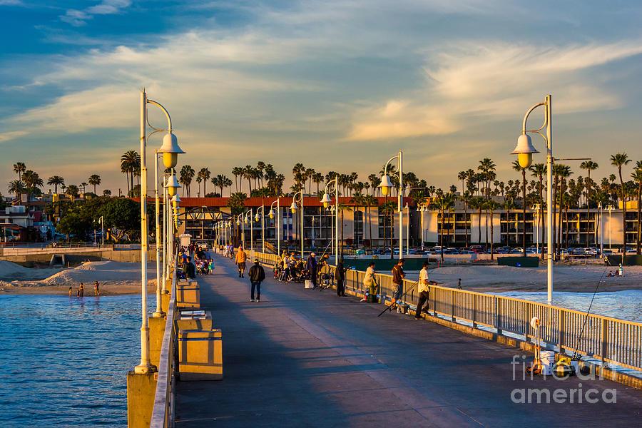 Color Photograph - The Belmont Pier In Long Beach by Jon Bilous