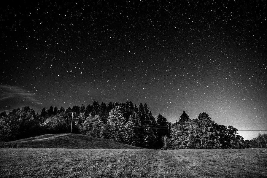 The Big Dipper over Ludlow VT Fall Foliage Black and White by Toby McGuire