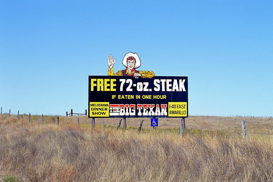 Diner Photograph - The Big Texan Steak Ranch Billboard by Car Culture