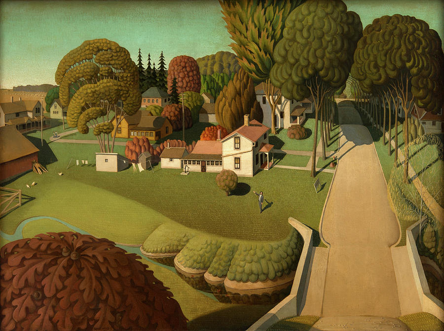 Grant Wood Painting - The Birthplace Of Herbert Hoover, 1931 by Grant Wood