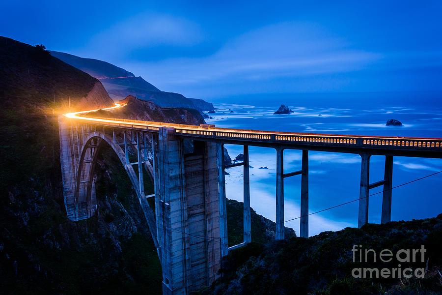 Big Photograph - The Bixby Creek Bridge At Night, In Big by Jon Bilous