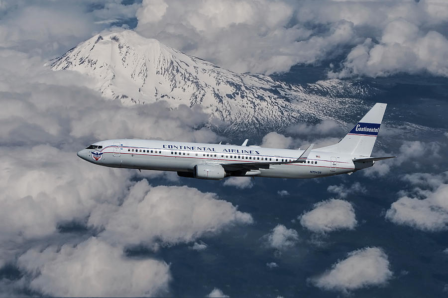 Continental Airlines Mixed Media - Continental Airlines Blue Skyways Retro Livery by Erik Simonsen