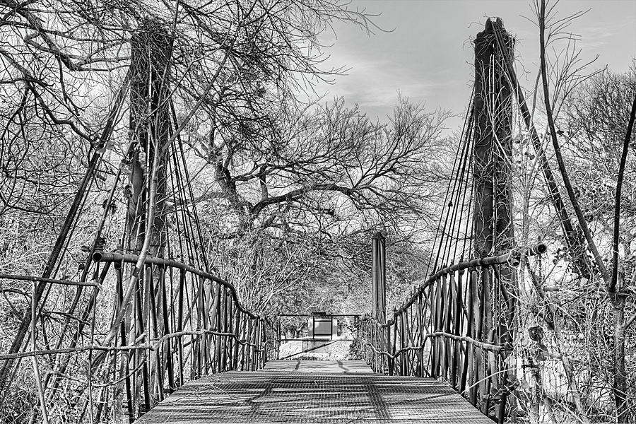 Old Bridge Photograph - The Bluff Dale Suspension Bridge Black And White by JC Findley