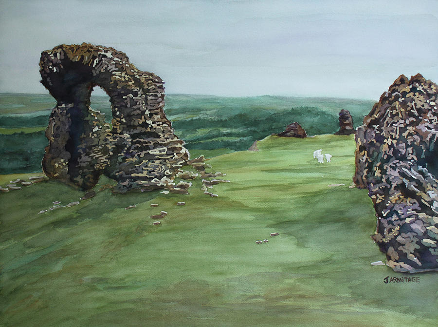 Castell Painting - The Bones Of Dinas Bran by Jenny Armitage