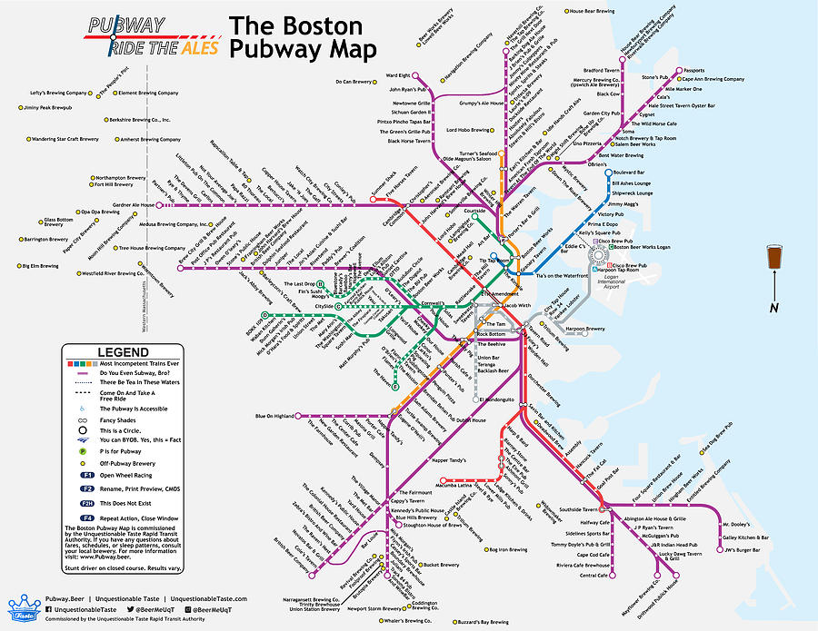 Beer Digital Art - The Boston Pubway Map Iv by Unquestionable Taste
