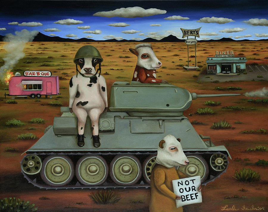 The Bovine Burger War by Leah Saulnier The Painting Maniac