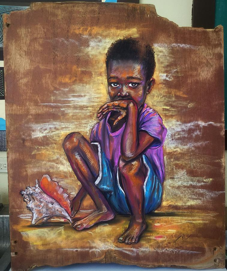 The boy with the shell 2 by Katerina Kovatcheva