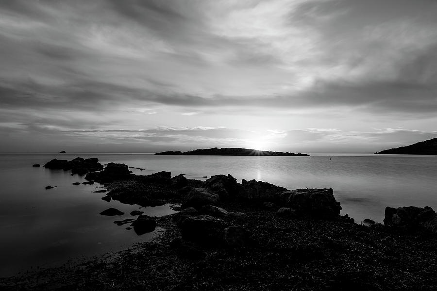 The breakwater in Cala Sa Sal Rossa in Ibiza at dawn, Spain by Vicen Photography
