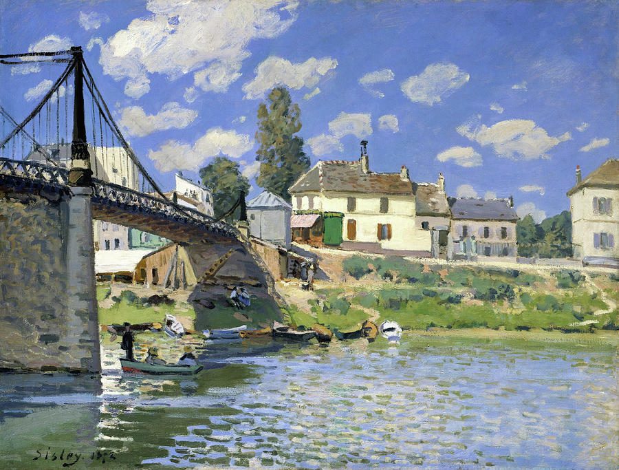 Alfred Sisley Painting - The Bridge At Villeneuve-la-garenne - Digital Remastered Edition by Alfred Sisley