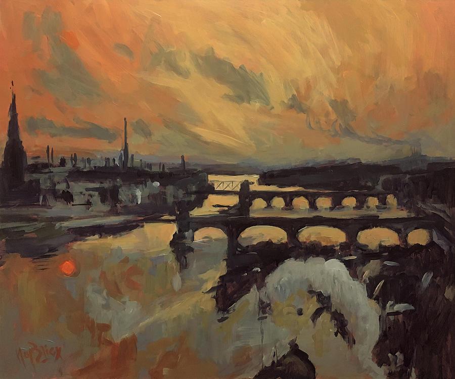 Maastricht Painting - The Bridges Of Maastricht by Nop Briex