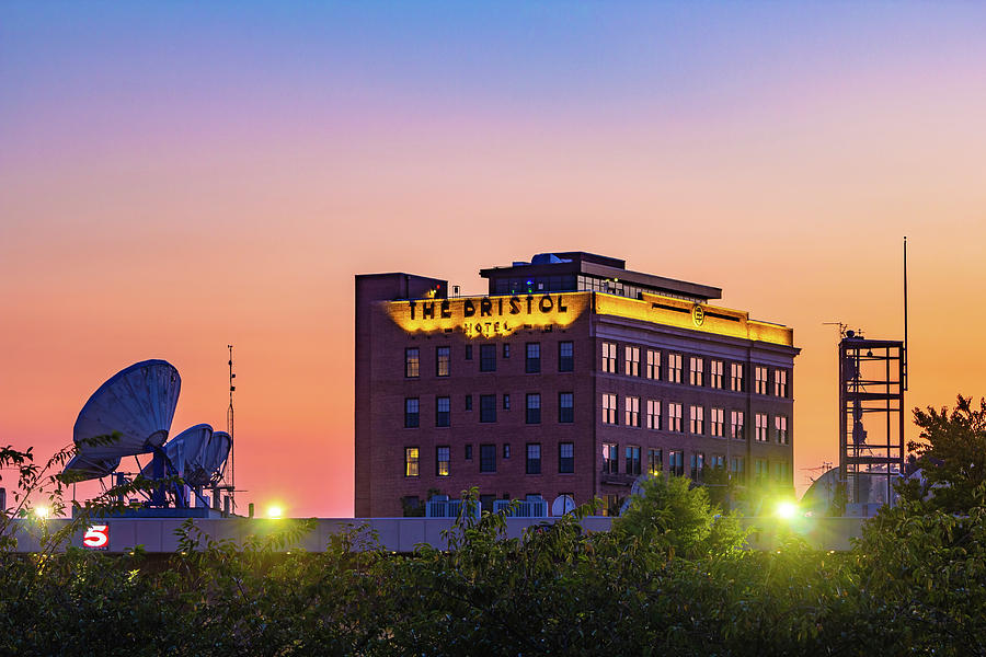 The Bristol Hotel And Wcyb At Sunset Photograph