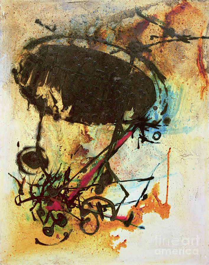 Abstract Painting - The Broken Egg Memories by Bayo Iribhogbe