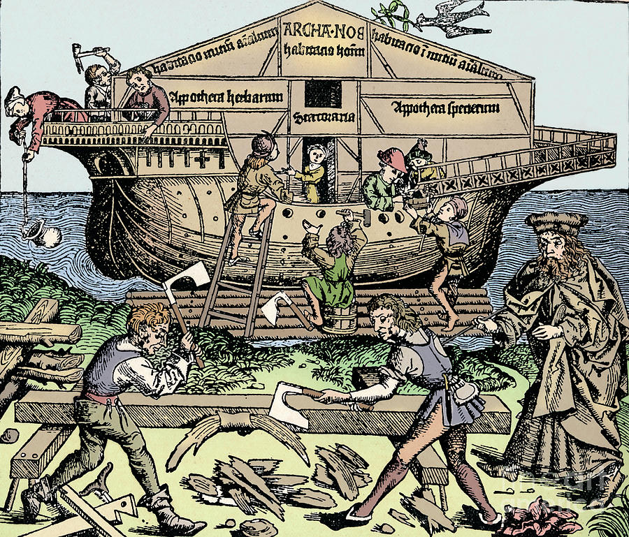 The Building Of The Ark Superintended Drawing by Print Collector