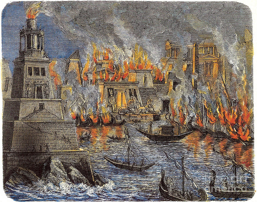 The Burning Of The Library Drawing by Heritage Images