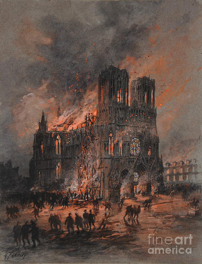 The Burning Reims Cathedral 1914-1915 Drawing by Heritage Images