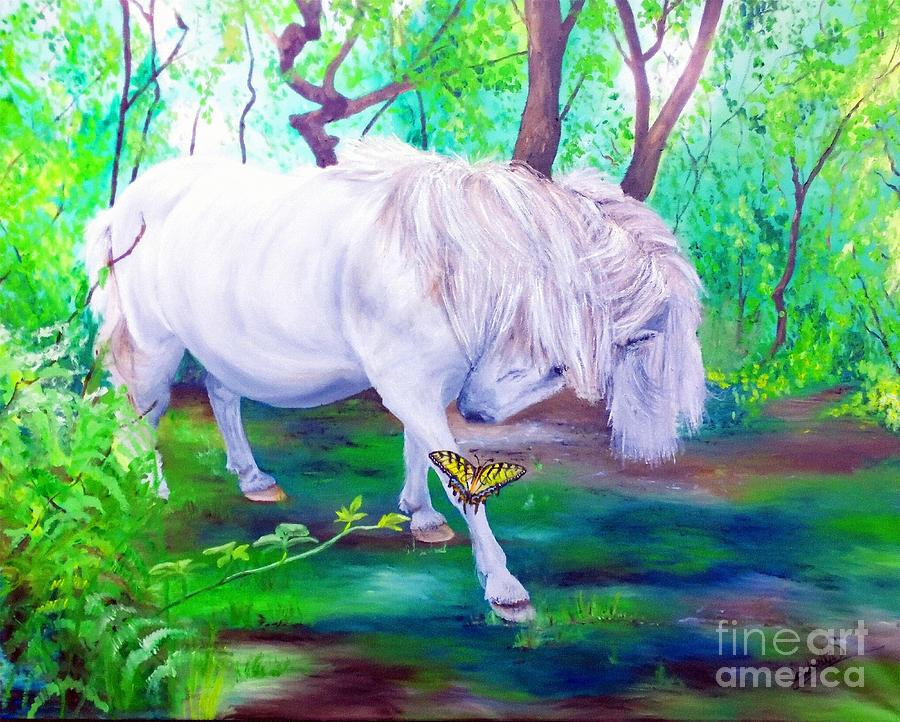 Pony Painting - The Butterfly And The Pony by Abbie Shores