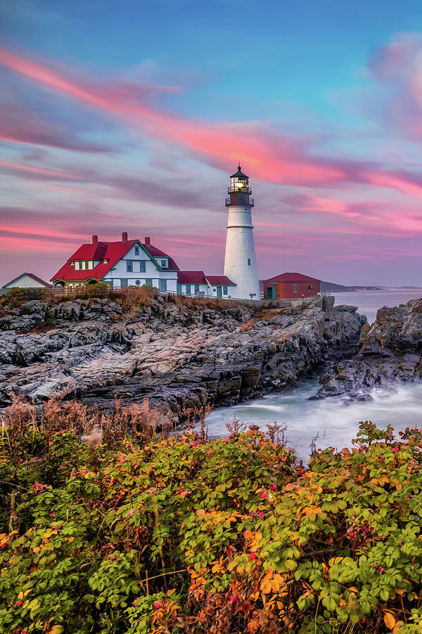 The Cape In Autumn - Maines Portland Head Lighthouse Photograph