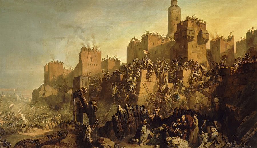 Jacques De Molay Painting - The Capture Of Jerusalem By Jacques De Molay, Crusade by Claudius Jacquand