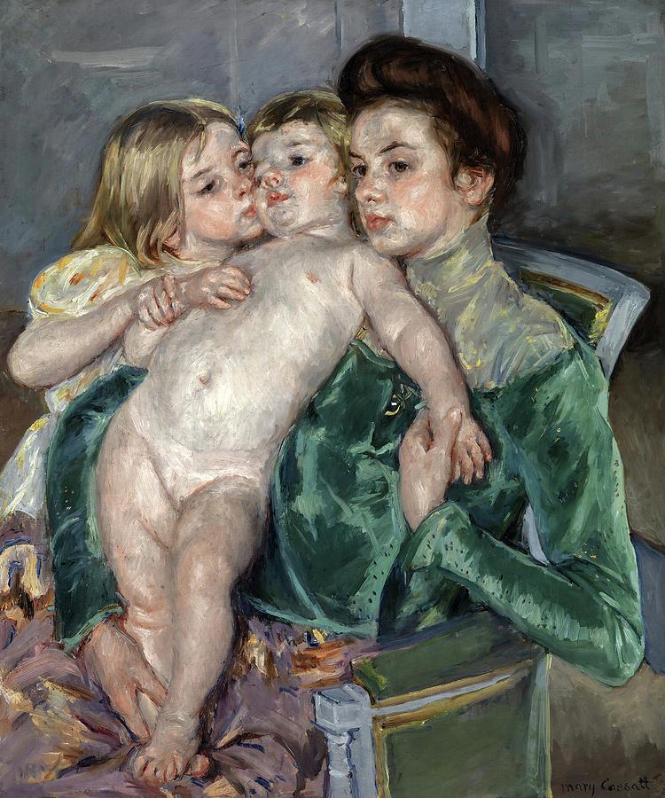 Mary Cassatt Painting - The Caress, 1902 by Mary Cassatt
