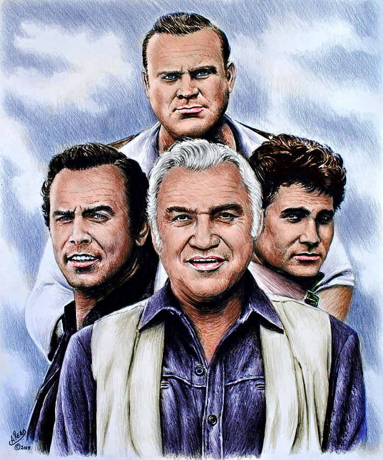 Bonanza Drawing - The Cartwrights Colour Ver by Andrew Read