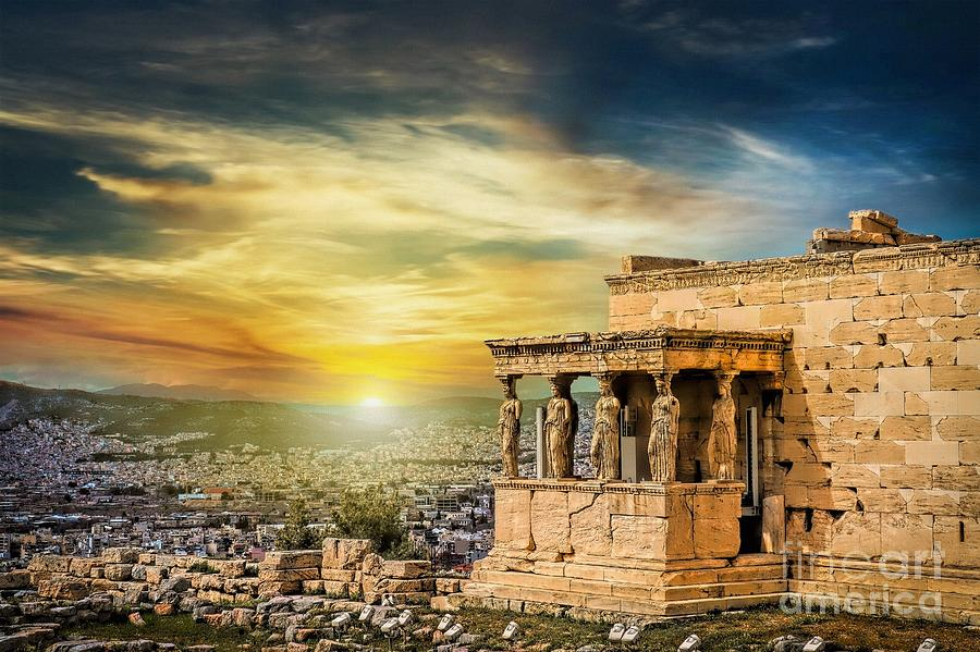 World Heritage Photograph - The Caryatids of Acropolis in Athens, Greece by Stefano Senise