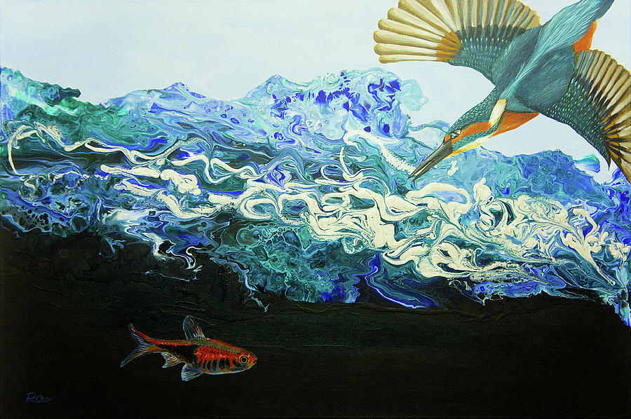 King Fisher Painting - The Catch by Raymond Ore