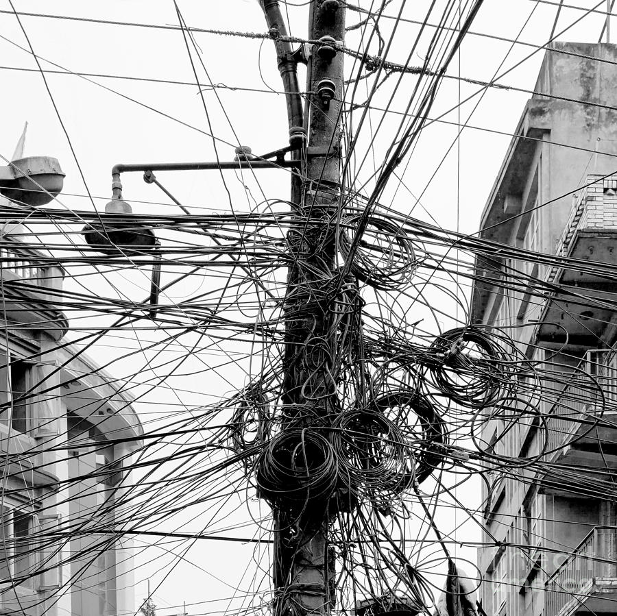 Capital Photograph - The Chaos Of Cables And Wires In by Vadim Petrakov