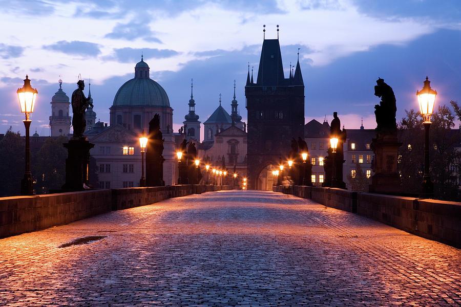 The Charles Bridge At Dawn, Prague Photograph by Uyen Le