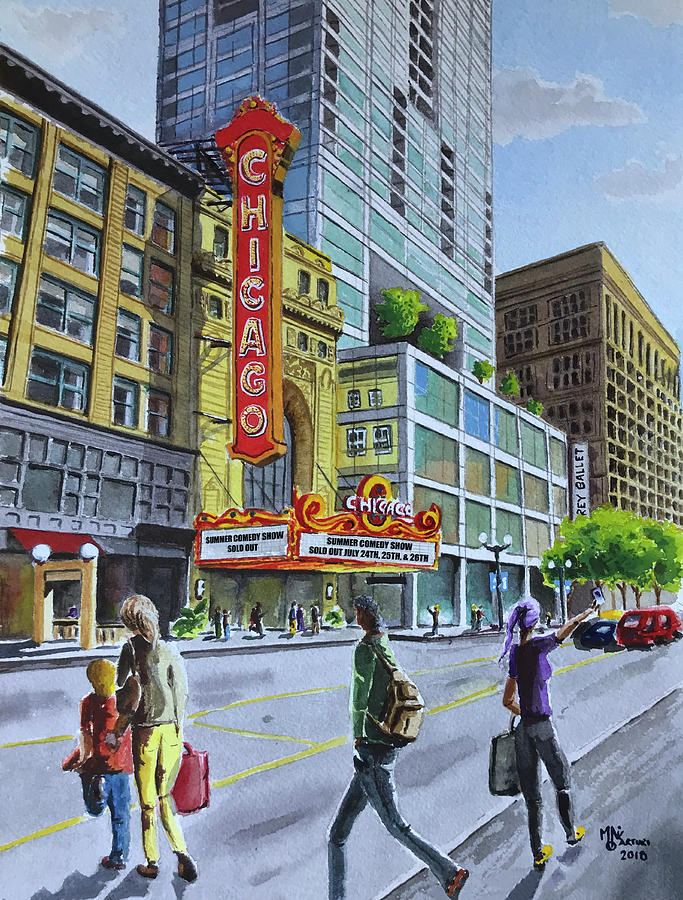 Chicago Painting - The Chicago Theatre on State Street by Monika Arturi