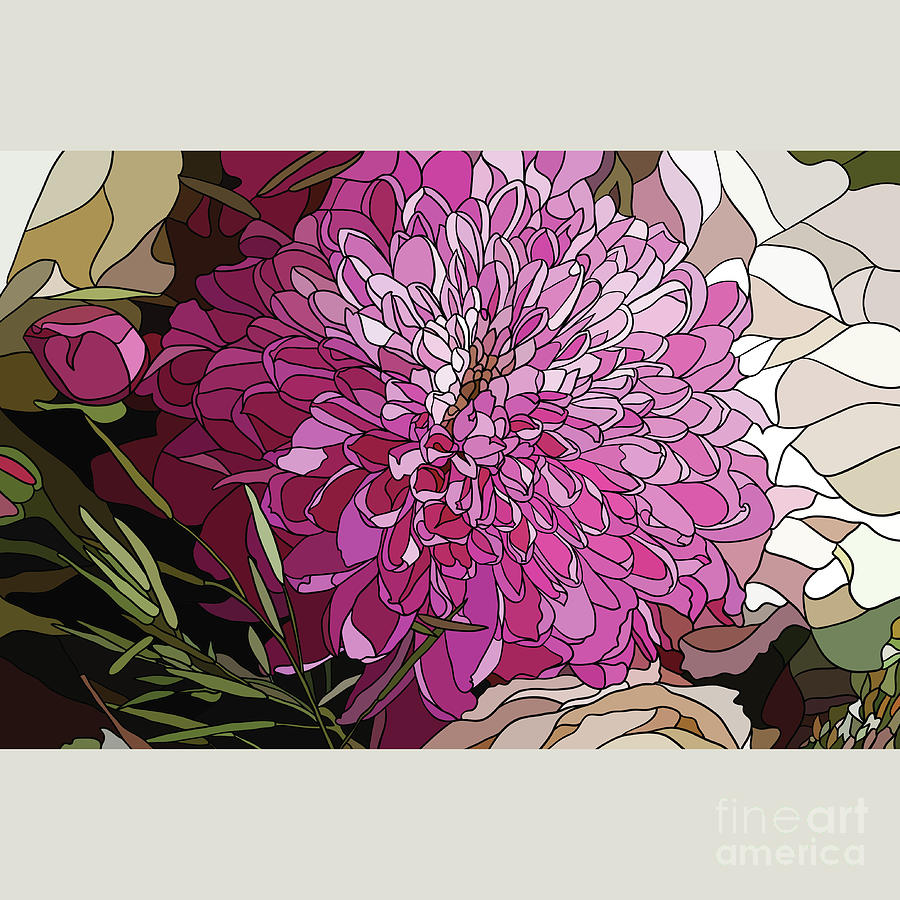 The Chrysanthemum Flower In The Style Digital Art by Sirina85