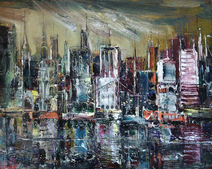 New York Painting - The City Awakens by Stefano Popovski