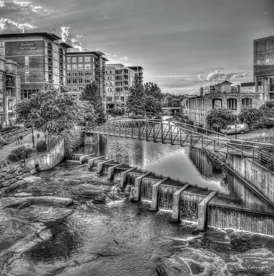 The City River Sundown B W Reedy River Falls Park Greenville South Carolina Art by Reid Callaway