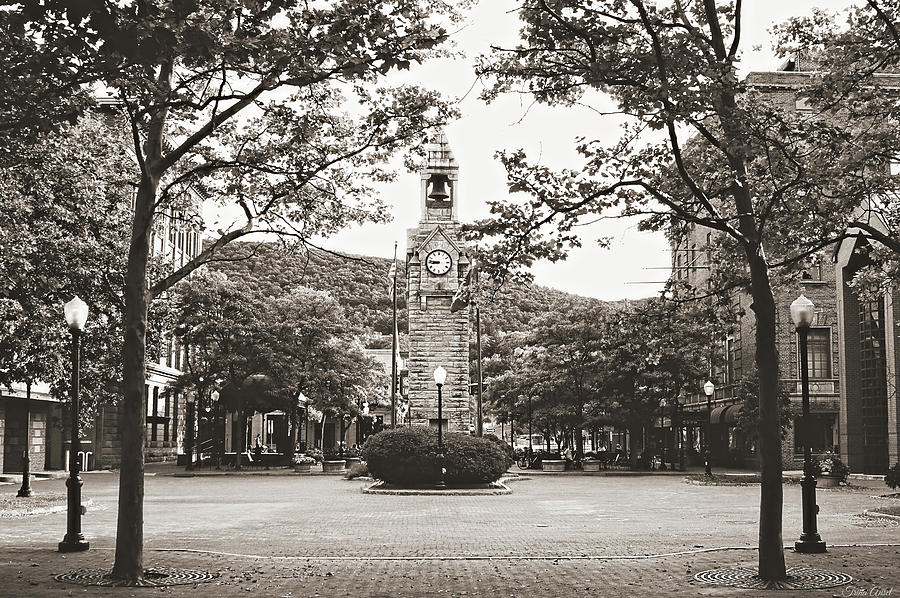The Clock Tower in Black and White by Trina Ansel