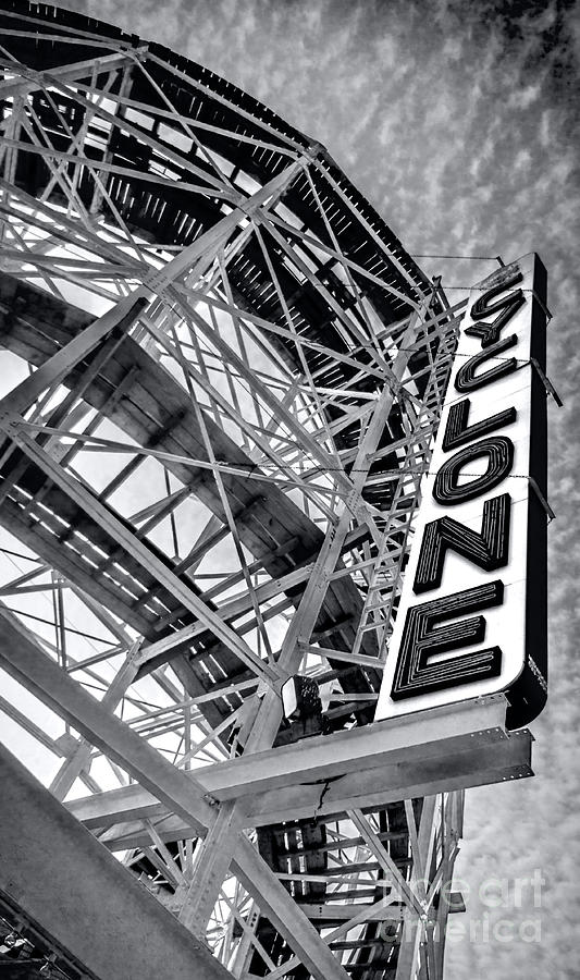 The Coney Island Cyclone - BW by James Aiken