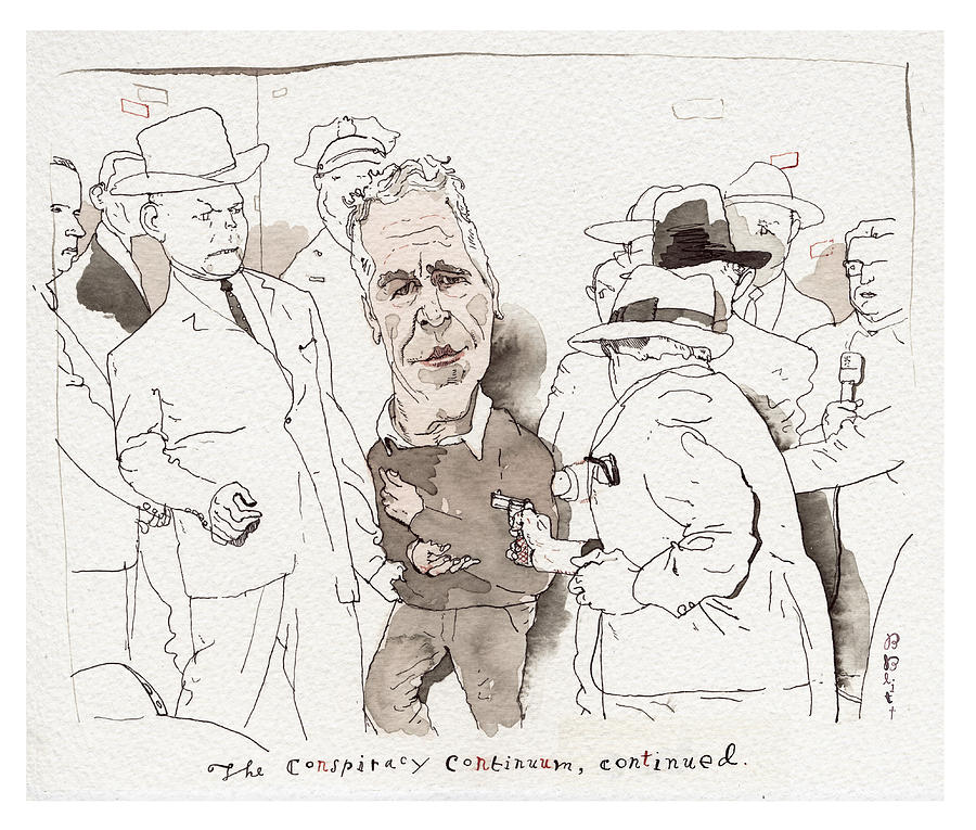The Conspiracy Continuum Painting by Barry Blitt