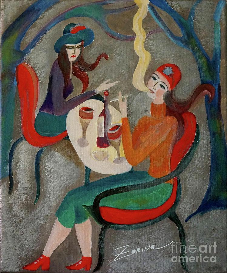 Wine Painting - The Conversation  by Zorina Kunkina