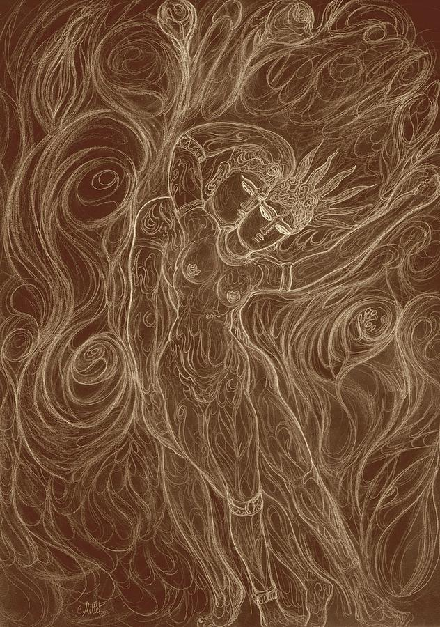 Cosmic Dance Drawing - The Cosmic Dance Of Shiva And Parvati by Cindy MILLET