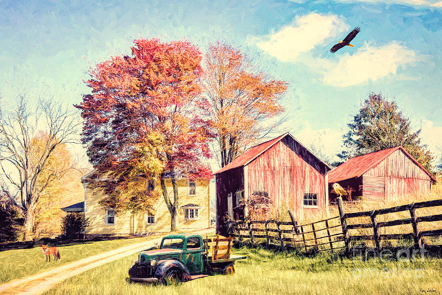 Old Barn Mixed Media - The Country Homestead by Tina LeCour