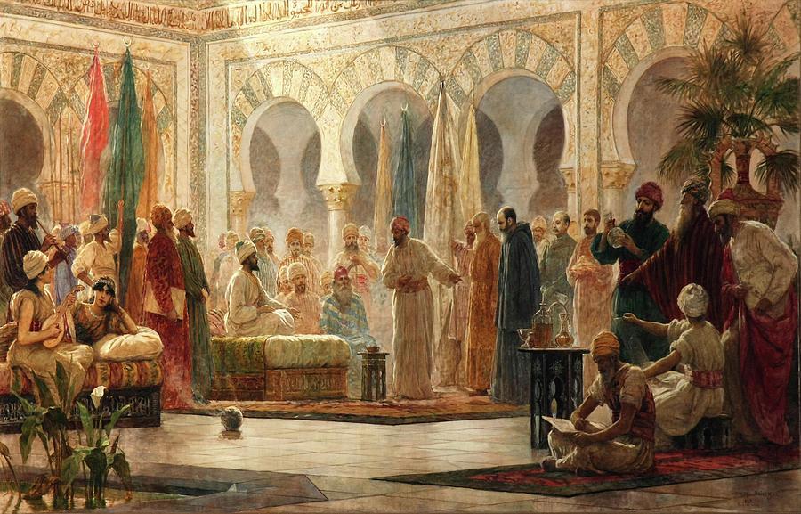 'The Court of Abd ar-Rahman', 1885. Abd ar-Rahman III -889-Cordoba,... by Dionisio Baixeras Verdaguer -1862-1943-