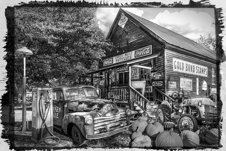 1947 Photograph - The Crazy Mule Antiques Black And White Bordered by Debra and Dave Vanderlaan