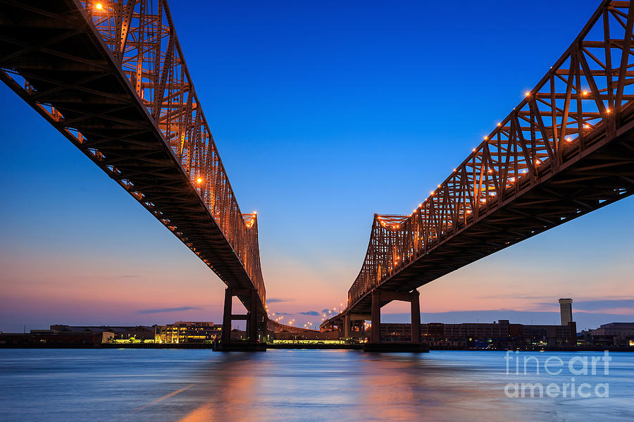 Southern Photograph - The Crescent City Connection Bridge On by F11photo