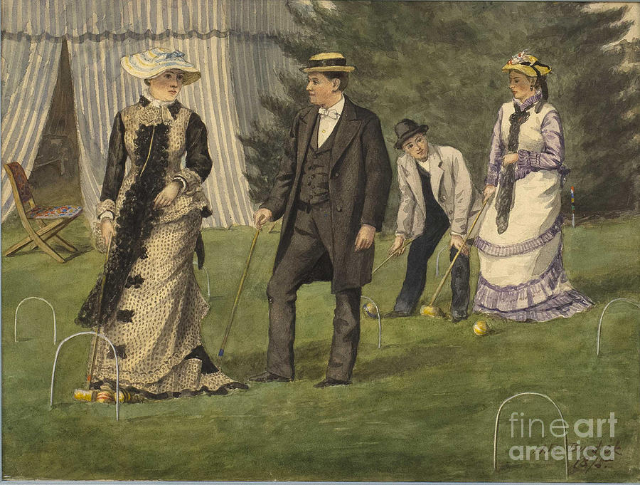 The Croquet Game Drawing by Heritage Images
