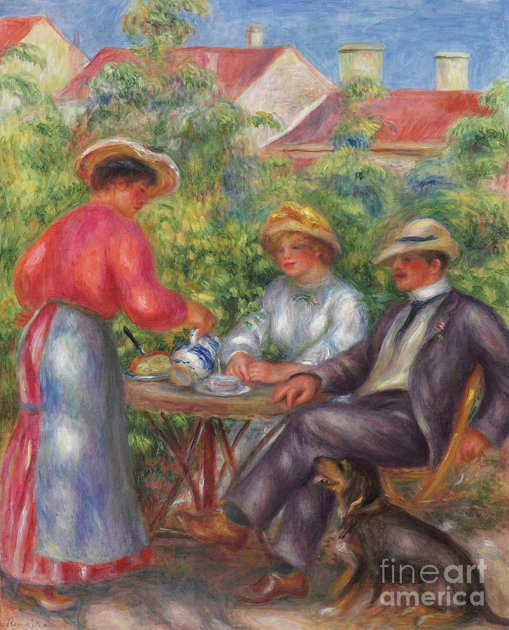 Renoir Painting - The Cup Of Tea, Or The Garden by Pierre Auguste Renoir