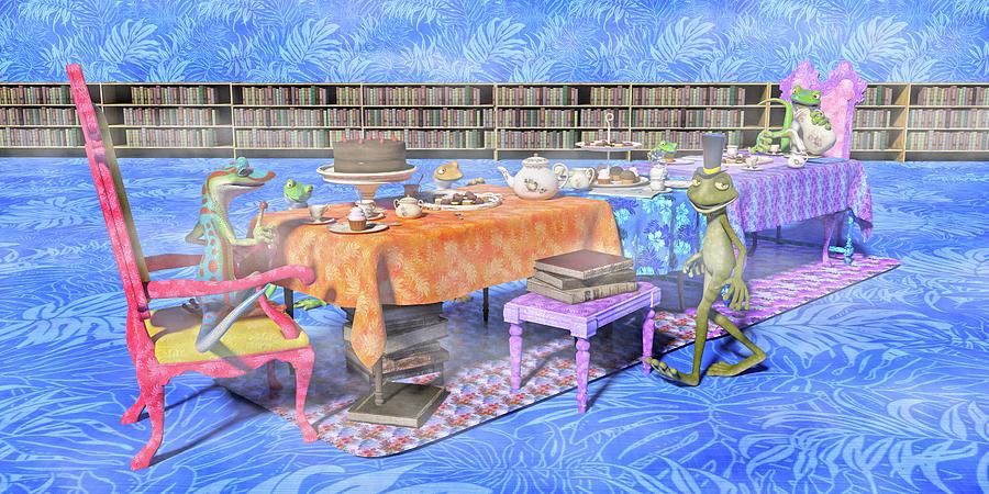 Gecko Digital Art - The Curious Tea Party by Betsy Knapp