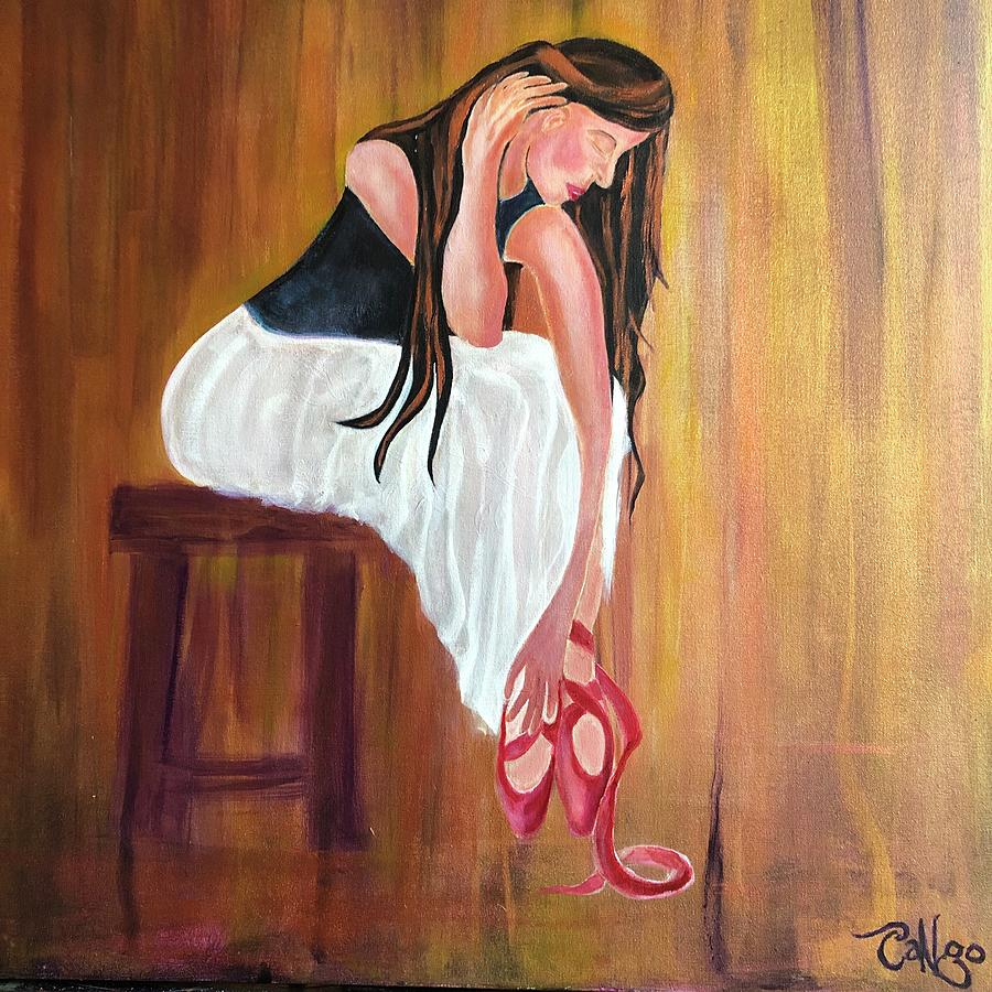 Beautiful Woman Painting - The Dancer In The Red Ballet Shoes by Ron Tango Jr
