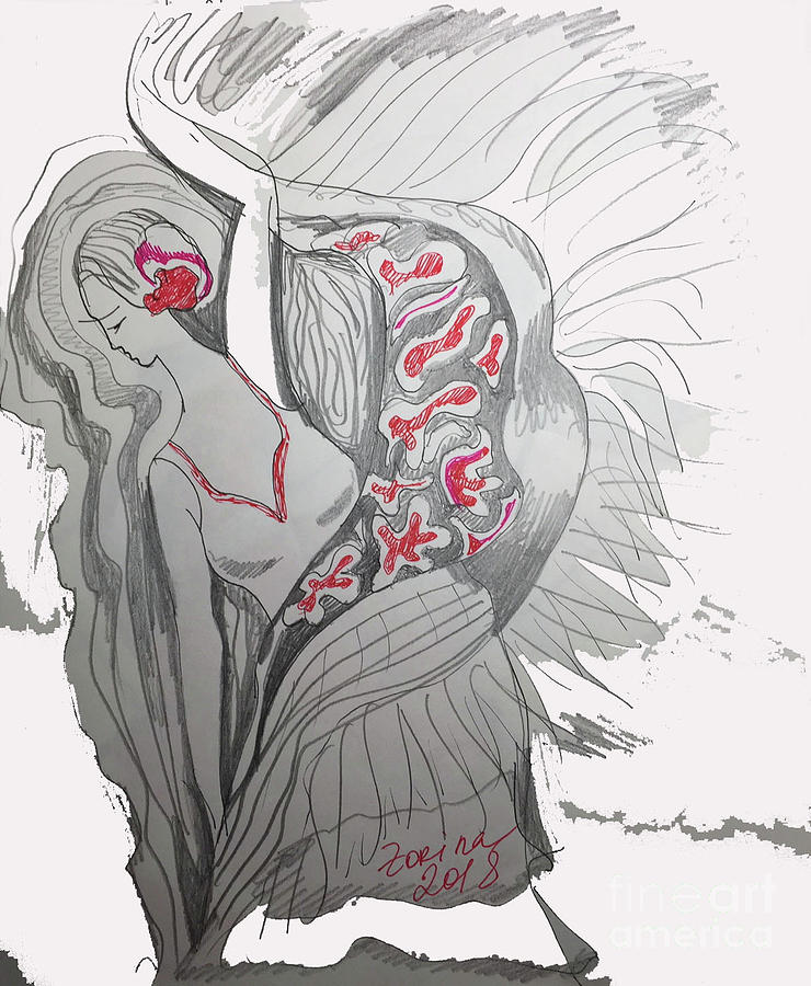 Spiritual Energy Drawing - The Dancer by Zorina Kunkina